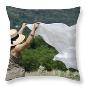 Woman With A White Sheet Throw Pillow