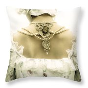 Woman With Bonnet Throw Pillow