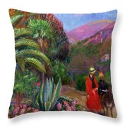 Woman With Child On A Donkey Throw Pillow