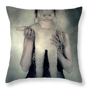 Woman With Doll Throw Pillow by Joana Kruse