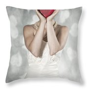 Woman With Heart Throw Pillow