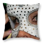 Woman With Mask Throw Pillow