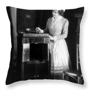 Woman With Phonograph 1908 Throw Pillow