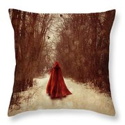 Woman With Red Cape Walking In Woods Throw Pillow