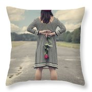 Woman With Red Rose Throw Pillow