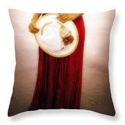 Woman With Straw Hat Throw Pillow