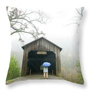 Woman With Umbrella In Front Of Covered Throw Pillow