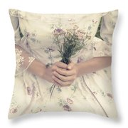Woman With Wild Flowers Throw Pillow by Joana Kruse