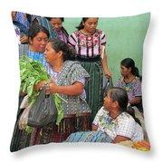 Women At The Chichicastenango Market Throw Pillow