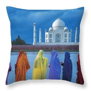 Women In Colorful Saris In Front Of The Throw Pillow