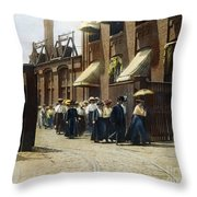 Women Leaving Work, 1895 Throw Pillow