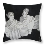 Women Waiting For The Bus Throw Pillow