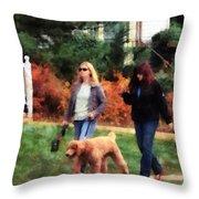 Women Walking A Dog Throw Pillow