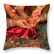 Women With Decorated Hands Holding Hands In A Hindu Religious Ceremony Throw Pillow