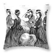 Womens Fashion, 1870 Throw Pillow