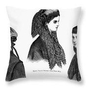 Womens Hats, 1868 Throw Pillow