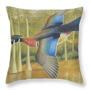 Wood Duck Flying Throw Pillow