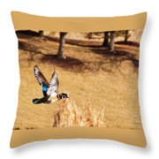 Wood Duck In Fflight Throw Pillow