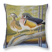 Wood Duck Pair At The Lake Throw Pillow