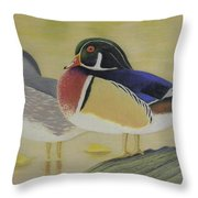 Wood Duck Pair Lakeside Throw Pillow