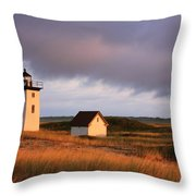 Wood End Lighthouse Landscape Throw Pillow