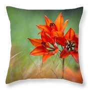 Wood Lily Throw Pillow