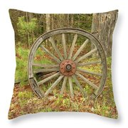 Wood Spoked Wheel Throw Pillow
