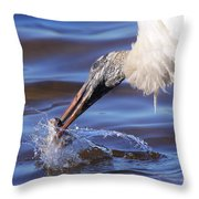 Wood Stork Fishing Throw Pillow
