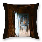 Wood Workers Door In Truchas New Mexico Throw Pillow
