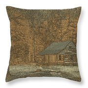 Woodcut Cabin Throw Pillow by Jim Finch