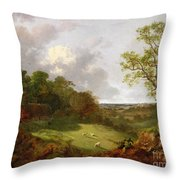 Wooded Landscape With A Cottage - Sheep And A Reclining Shepherd Throw Pillow