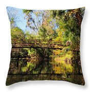 Wooden Bridge Over The Hillsborough River Throw Pillow