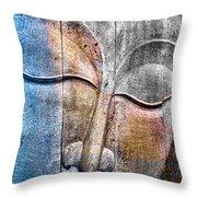 Wooden Buddha Throw Pillow