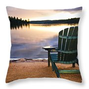 Wooden Chair At Sunset On Beach Throw Pillow