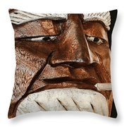 Wooden Head With Cigarette Throw Pillow