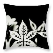 Wooden Leaf Shapes In Black And White Throw Pillow