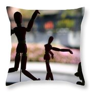 Wooden Puppet Throw Pillow