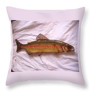 Wooden Rainbow Trout Number Nine Throw Pillow