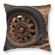 Wooden Spoked Tire Throw Pillow
