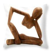 Wooden Statue Throw Pillow