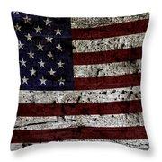Wooden Textured Usa Flag2 Throw Pillow