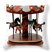 Wooden Toy Carousel Throw Pillow