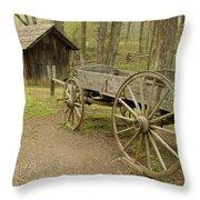 Wooden Wagon Throw Pillow