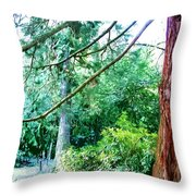Woodland And Huge Tree Illustration Throw Pillow