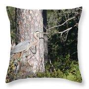 Woodland Great Blue Heron Throw Pillow