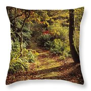 Woodland Path, Mount Stewart, Ards Throw Pillow