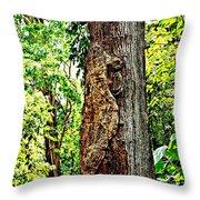 Woodpecker Tree Throw Pillow