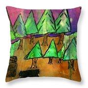 Woods Cut Logs And A Sunset Throw Pillow