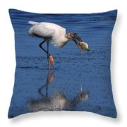 Woodstork Catches Fish Throw Pillow