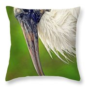 Woodstork Portrait Throw Pillow